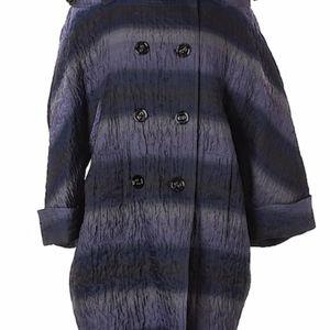 Burberry Navy Purple Striped Puffer Sleeve Coat